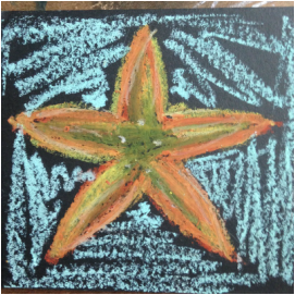 oil pastel starfish drawing 2