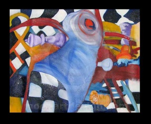 chess surrealist painting by mimoart