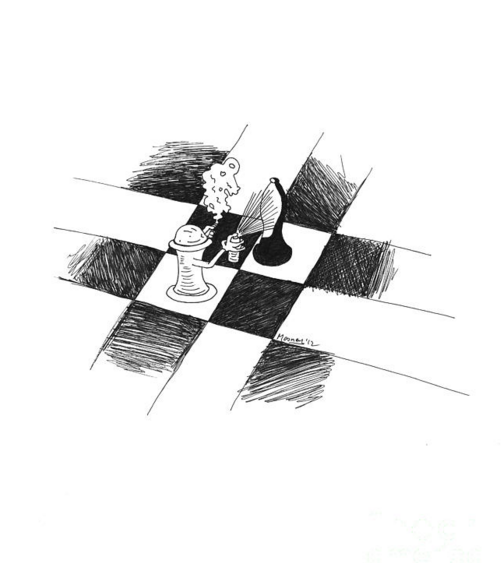 chess wall art drawing