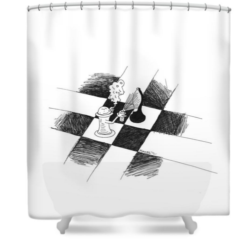 chess art shower curtain