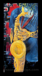 saxophone player painting